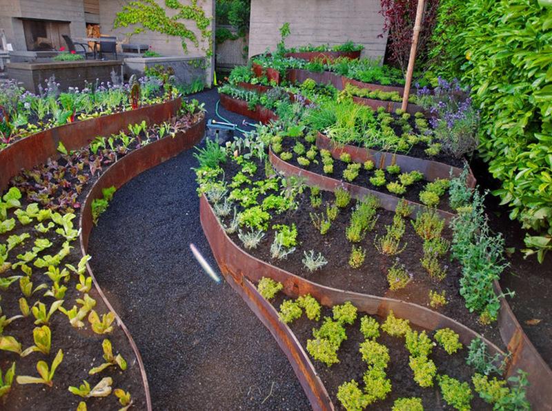 Декоративный огород, фото оформления в форме волны