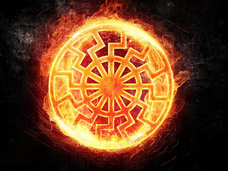 Главный символ Коляды - солнце, которое изображали горящим колесом