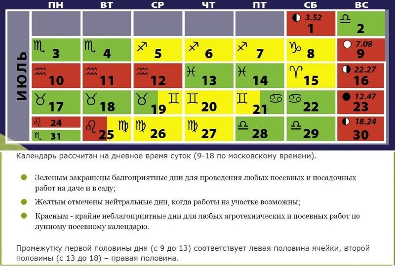 Календарь дней на июль
