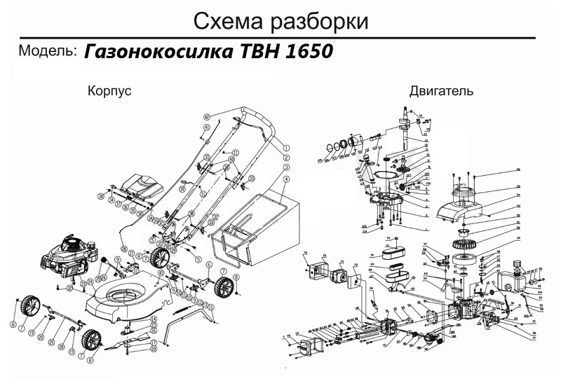 Чертеж электрической газонокосилки на примере TBH 1650