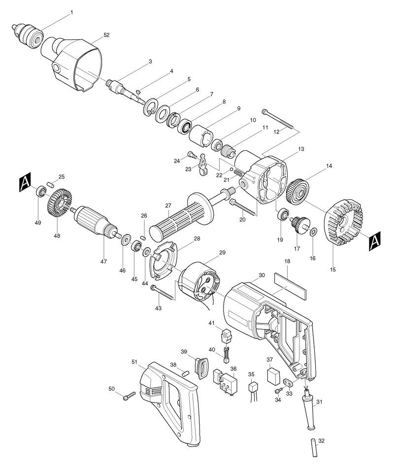 Чертеж ручной электрокосы на примере Макита 8406
