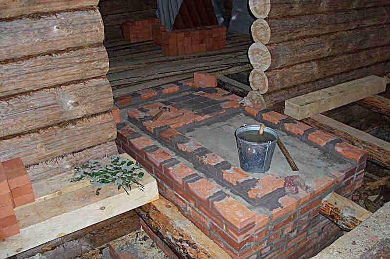 Подготовленный фундамент под установку печи в баню