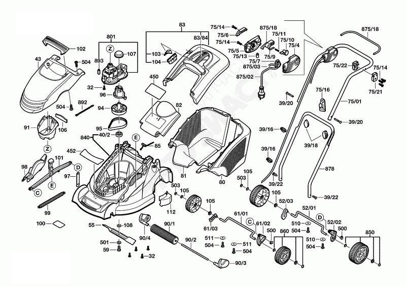 Подетальный чертеж бензиновой газонокосилки