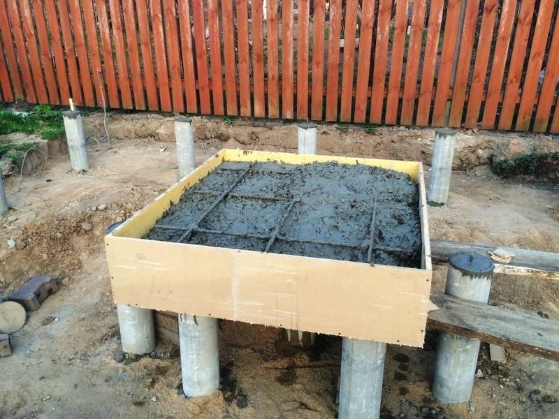 Установка печи в баню: фото подготовки столбчатого фундамента