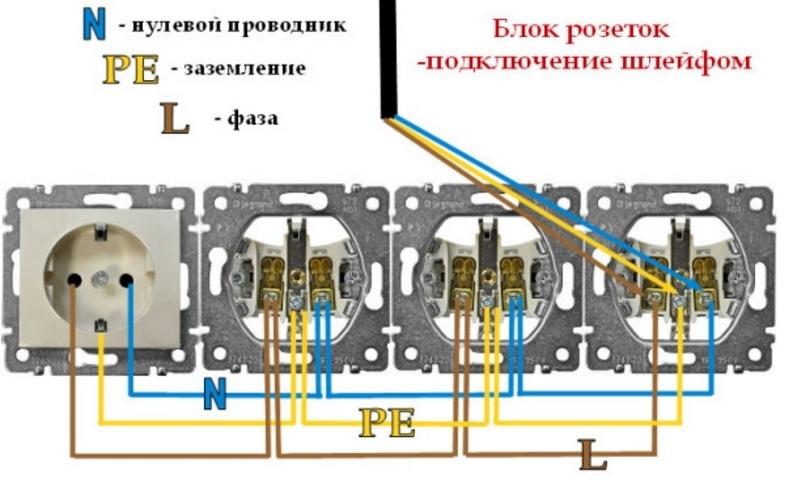 Схема подключения блока розеток на одну линию