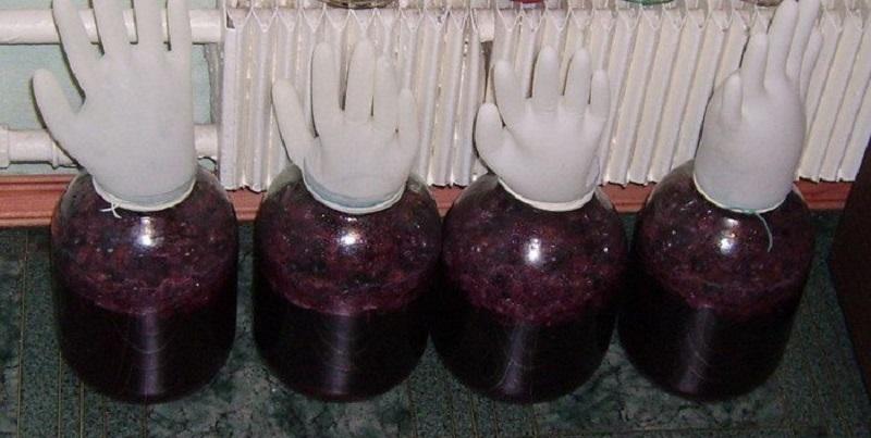 Вино из малинового варенья под перчаткой в процессе брожения